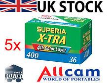 5 Pack: Fuji Superia X-tra 400 35mm 36 Esposizioni Rullino Pellicola A Colori
