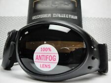 Men PADDED MOTORCYCLE RIDING GOGGLES with Strap Black Frame Dark Anti Fog Lens