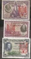 LOTE 3 BILLETES 1925 / 1931 AGUILA DE SAN JUAN BURGOS CIVIL RESELLO FRANCO Vvchk