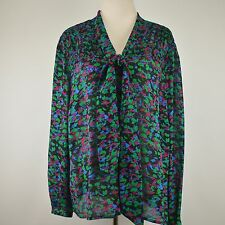 VICTOR ALFARO 20W Silk Blouse Smocked Tie Front Elegant Top Shirt