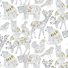 Dashwood ~ Norrland White Fabric / quilting dressmaking bear deer christmas gold