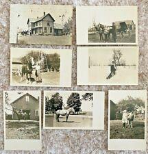 Seven RPPCs Farmhouse Horses Children Buggy Barn Snow in Boon, Michigan~131561
