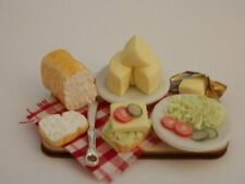 Dolls house food: Making cheese salad sandwiches prep board   -By Fran