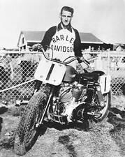 OLD LARGE MOTOR RACING PHOTO, Carroll Resweber Harley Davidson motorcycle 1959