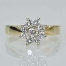 14k Yellow Gold 1/2 Cttw Round Diamond Halo Cocktail Cluster Dinner Estate Ring