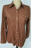Roper Womens Western Pearl Snap Shirt Large Brown Long Sleeve Rodeo NWT