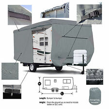 Deluxe Camper Trailer Traveler RV Cover Fits 20' - 22'L W/ Zipper Door Access