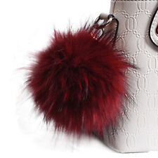 13cm Fluffy Faux Fur Pom Pom Ball Handbag Phone Pendant Car Keychain Key Ring