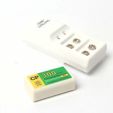 Hot 1 Pcs 300mAh 9V BTY NI-MH Rechargeable Battery With 2 Slot 9V Charger