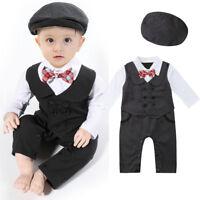 Infant Boy Baby Formal Suit Tuxedo Peagent Romper Wedding Party Jumpsuit Clothes