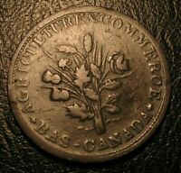 OLD Canadian Coins 1837  Bouquet Sous Canada Montreal Token