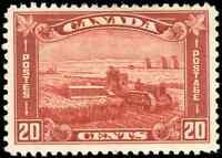 Canada #175 mint F-VF OG HR DG 1930 Arch/Leaf 20c brown red Harvesting Wheat