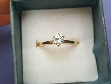 14K Yellow Gold .38 Carat Star of Love Diamond Solitaire Engagement Ring Sz 6.25