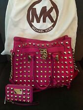 Michael Kors Zinnia Pink Pyramid Studded Hamilton Tote / Wallet Set & Dust Bag