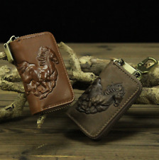 Genuine Leather Car Wallet Key Holder Keychain Zipper Case Bag Horse Printing