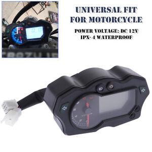 12000RPM 12V For Motorcycle LCD Speedometer Universal Tachometer Odometer Gauge
