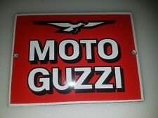 """MOTO GUZZI MOTORCYCLE PORCELAIN ENAMEL 5x3,8""""-12x9 CLASSIC WALL SIGN EMAILLE"""