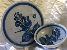 Blue Bird Plate & Bowl Set Made In Mexico Signed Piece Party/Fiesta/Home Decor/