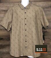 NWT 5.11 Tactical Men Life's a Breach RAPIDraw Khaki Short Sleeve Button Shirt L