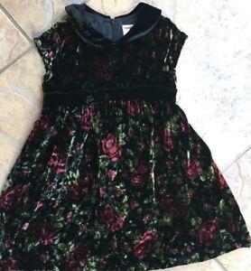 Gymboree 2005 TRADITIONS Vintage EUC 2T Black flower velvet holiday dress