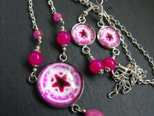 glass CABOCHON NECKLACE & EARRINGS SET #411 PINK PENTACLE STAR pink jade