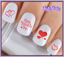 24 Nail Decals #7603 VALENTINES Double Red Hearts WaterSlide Nail Art Transfers