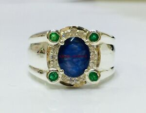 Natural Blue Sapphire & Emerald Gemstone with 925 Sterling Silver Men's Ring 242
