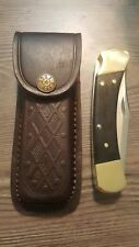 "Brown textured leather knife sheath - Holds a Buck 110. 5 "" Case. Antique Snap"