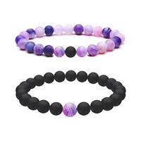 2Pcs Natural Stone Yin Yang Beaded Bracelets Couples Distance Bracelet N194