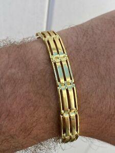 Men's Real 14k Gold Over 925 Sterling Silver Presidential Link Bracelet 10mm