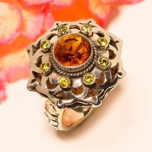 Golden Topaz & Lemon Topaz vintage Style Silver Handmade Jewelry Ring 11