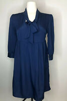 Pins And Needles Front Neck Tie Frock Dress Babydoll Blue Sz M