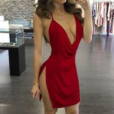 Womens Deep V-Neck Mini Dress Halter Backless Slit Mini Party Club Dress CL