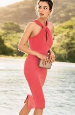 BNWT *NEXT* (Size Uk 10 Petite)Coral Cross Neckline Pencil Bodycon Dress