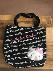 Ladies / girl sanrio hello kitty cotton canvas tote shoulder bag Black