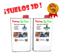 1.6 Kg  Resina epoxi Top Coat para suelos, porcelanato liquido efecto 3D, kit