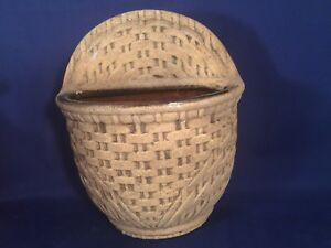 Haeger 8265 Pottery Basket Weave USA Wall Pocket Brown Hanging