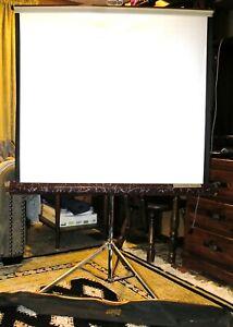 DA-LITE Silvertone 40 X 40 Projector Screen Burgundy Trim in Original Carry Case