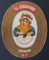 Ancienne étiquette FIL GEOGRAPHIQUE A G linen thread label 17