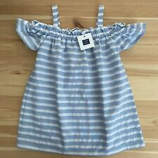 NWT JANIE AND JACK Swim, Sun, Repeat Blue Stripe Cold Shoulder Dress Size 3 3T