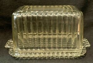 Glass Butter Dish French Reims Clear Pressed Glass Butter Dish  Covered Butter Dish  Butter Dish Vintage  Pressed Glass  Made in France