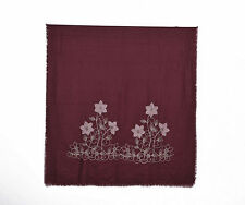Beautiful wine red self-fringed scarf with pink & gold floral embroidery NWT