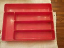 Vintage Red Plastic Tray For Silverware
