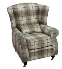 Arnold Fireside High Back Wing Armchair Devon Plaid Fudge Check Tweed Wool