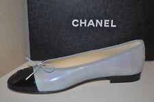 NIB $750+ CHANEL 17C CC Logo Ballet Flats Shoe Patent Grey & Black Cap Toe 39 -8