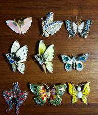 vintage rhinestone enamel brooch pin lot butterflies group of 9