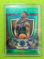 ZION WILLIAMSON PRIZM ROOKIE CARD JERSEY #1 DUKE RC PELICANS  2019 Crusade GREEN
