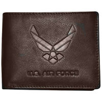 Men's Brown Leather US Air Force Bifold Wallet RFID Protected Gift Boxed