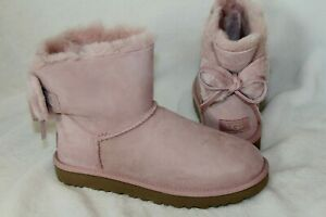 NIB UGG Women's Double Bow Mini Suede Shearling Boots Pink 7 8