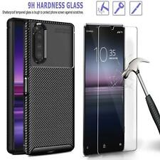 For Sony Xperia 1 10 5 II 5G Case, Carbon Fibre Gel Phone Cover + Tempered Glass